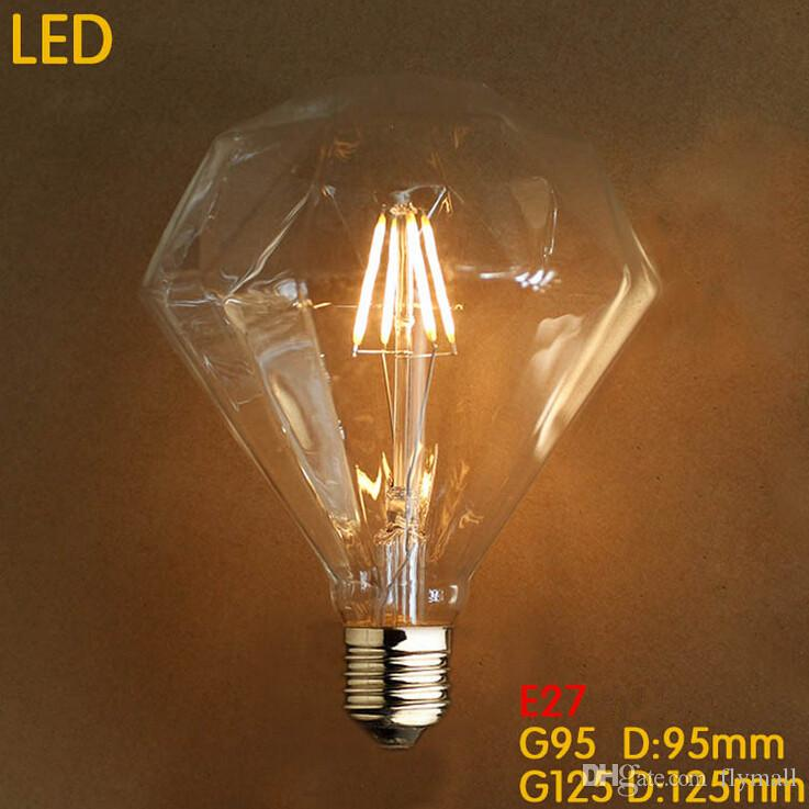 Retro Diamond Led Bulb E27 4w 6w 8w G125 G95 Clear 110 240v Replace Vintage Chandeliers Pendant Candle Filament Edison Lamp Sylvania Bulbs