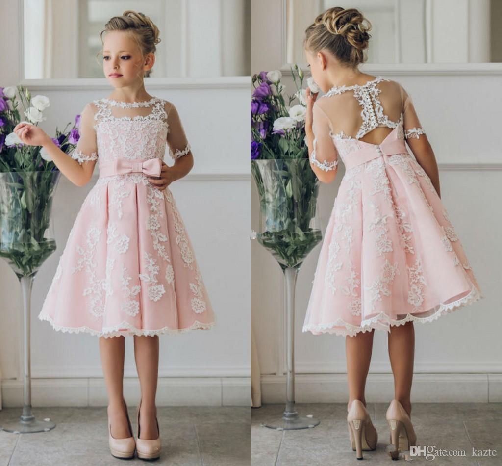 Cheap short flower girl dresses for bohemia beach wedding dresses cheap short flower girl dresses for bohemia beach wedding dresses knee length lace a line 2017 junior bridesmaid kids formal party dresses little girls izmirmasajfo