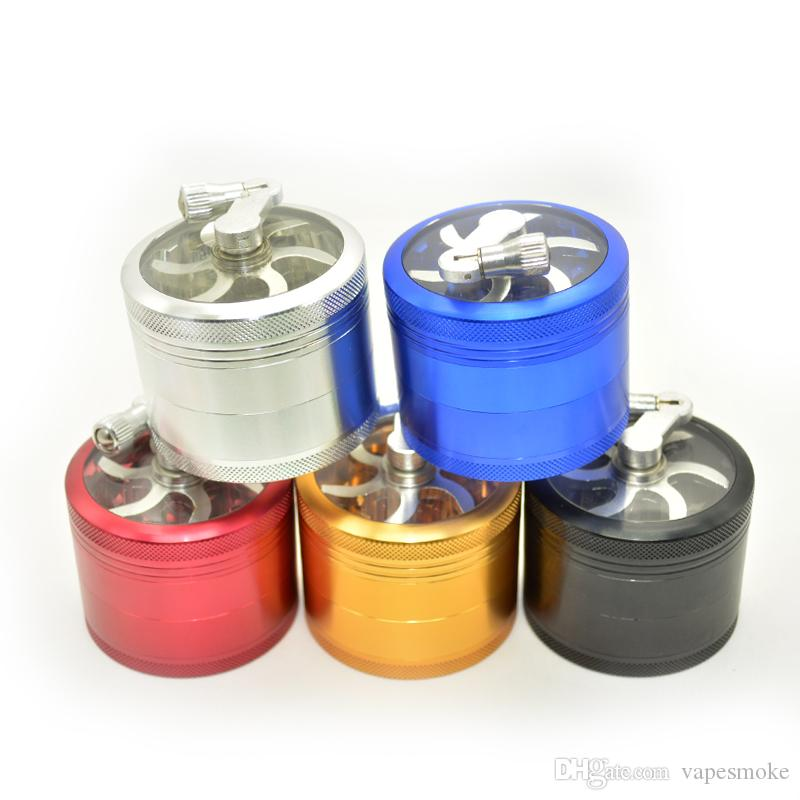 Partihandel - Aluminium sågtandskvarn med handtag rullande pollen Hand-cranking tobaksvarmor tobaksgjorda 4 lager rökning metallrör
