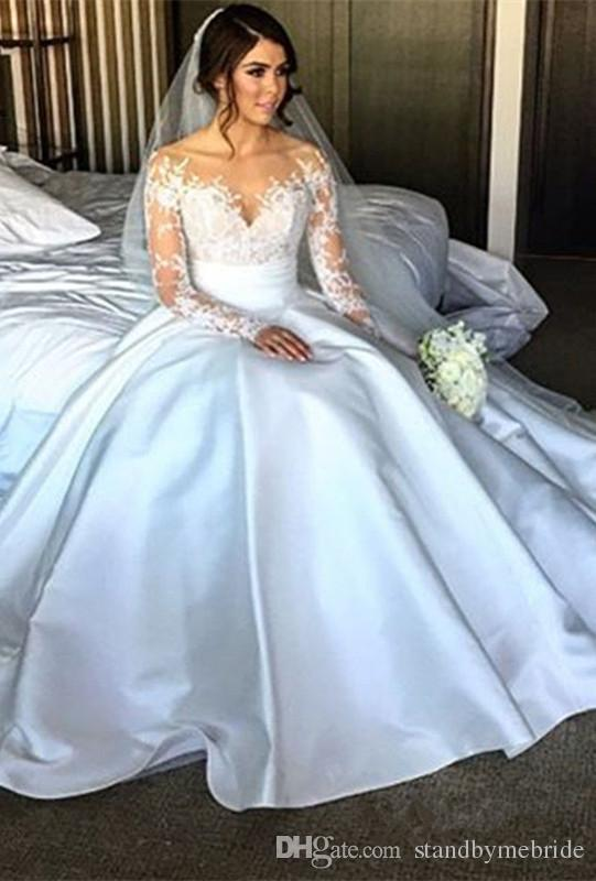 Modest Sweetheart Lace Wedding Dresses Long Sleeves Plus Size Princess Bridal Dress Vestidos De Noiva Ball Gown Vintage Gowns for 2018