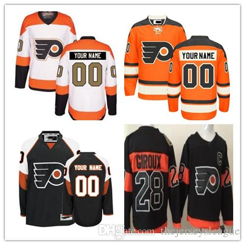 wholesale dealer f79a0 0e90f Custom Philadelphia Flyers Mens Womens Youth White Black Orange Stadium  Series Any Name Any Number Stitched Ice Hockey Jerseys S-4XL