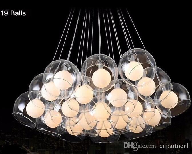 Modern Led Pendant Light 37 Ball Art Glass Chandelier For