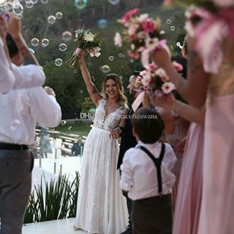 Lace A-Line Chiffon Summer Beach Wedding Dresses Tank Illusion Sheer V Front Sexy Bridal Wedding Gown Leg Slit Bride Dresses