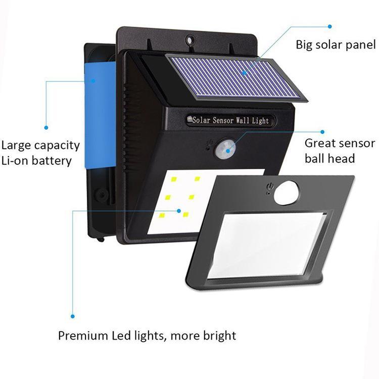 Spedizione via DHL 10 LED LED applique da parete solare Wireless PIR Sensore di movimento luce da esterno giardino paesaggio applique da parete a LED