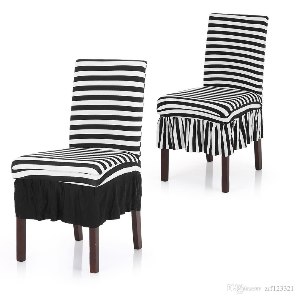 Pleated Black White Stripes Ruffled Stretch Removable Washable Dining Chair  Cover Classic Stripe Spandex Seats Slipcover For Wedding Party H Affordable  ...