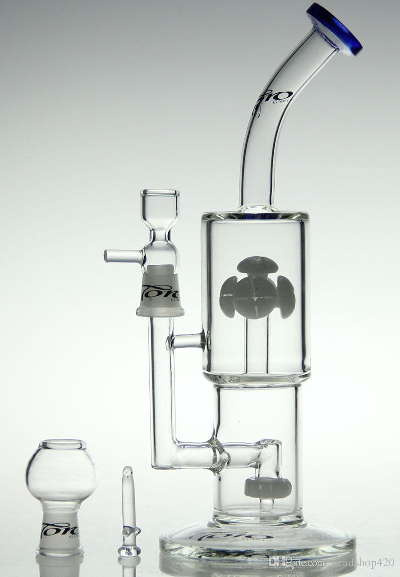Manufacture toro Bong Water pipe oil rig Design Double Gears By Radianglass Wheels Perc Really Thick Smoking Bubbler same as the pictures
