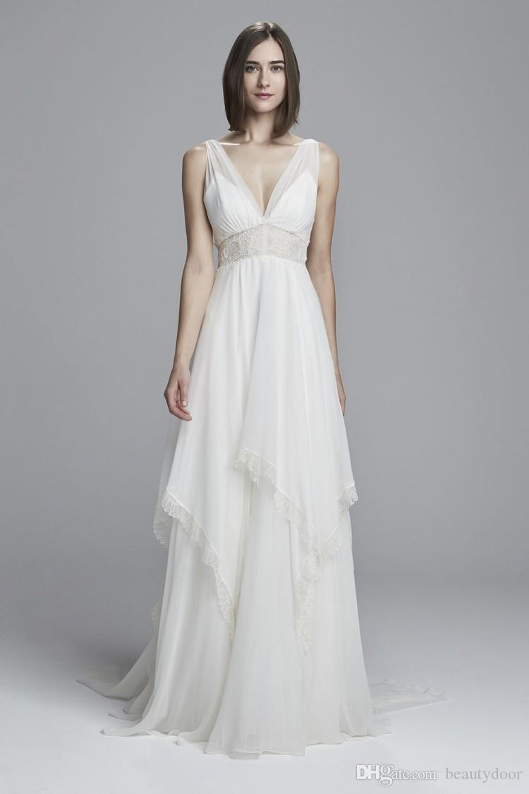 Discount Silk Chiffon Bridal Gowns With Sheer Lace Panel At Waist