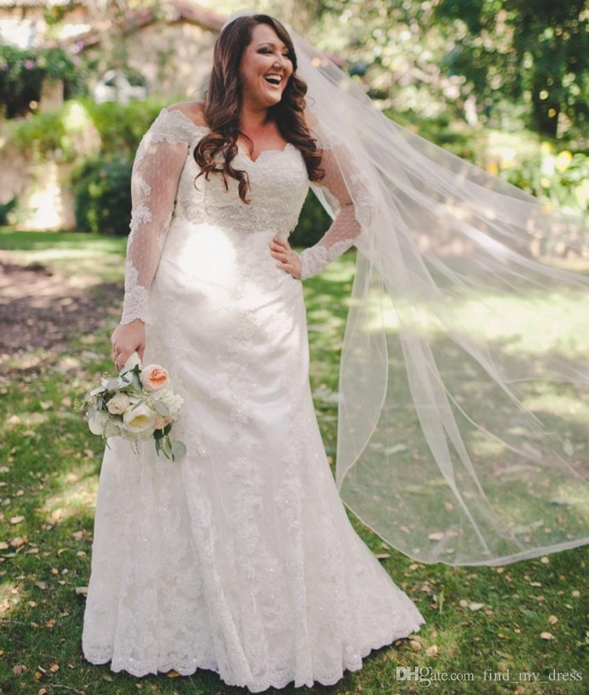 Elegant Wedding Gowns For Second Marriage: New Elegant Empire Plus Size Wedding Dresses Long Sleeve