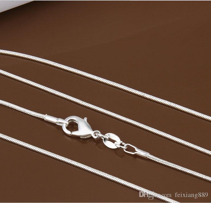 925 серебро гладкая змея цепи ожерелье 1 мм змея цепи смешанный размер 16 18 20 22 24 дюймов горячие продажа BY779