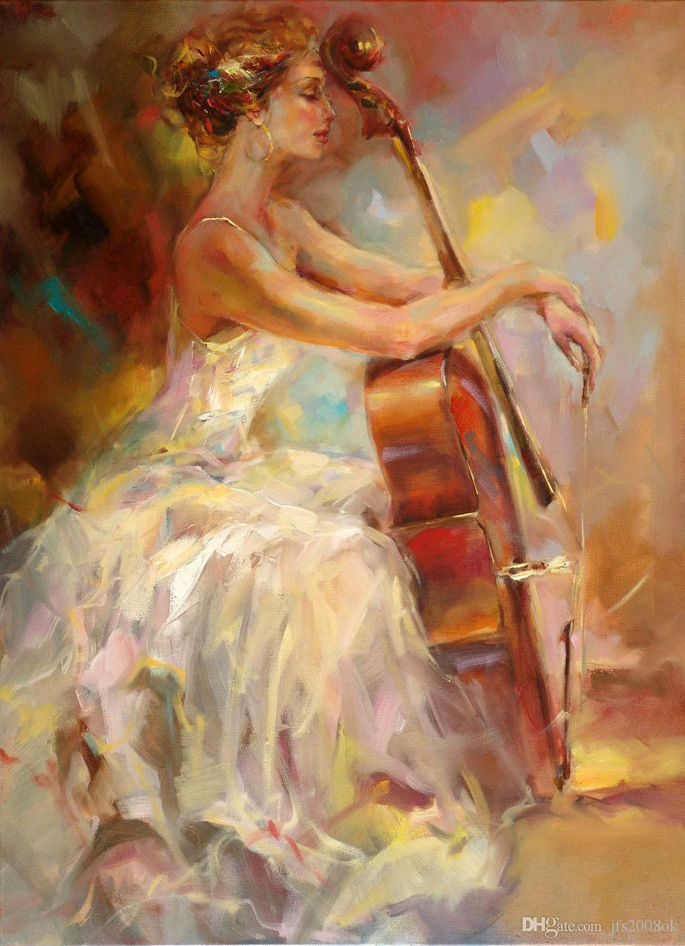 2018 Stunning Genuine Pure Hand Painted Female Portrait Oil Painting On Canvas Sexy Impressional Girl With Violin From Jfs2008ok 824