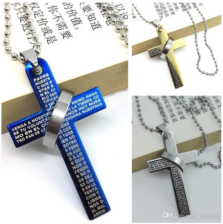 Bible Cross Ring Ring Titanium Steel Necklace Men's Stainless Steel Necklace Men's Couple Necklace YP028 Arts and Crafts pendant with chain