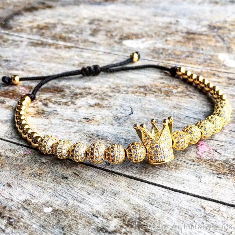 New Fashion uomo Micro Pave CZ Zircone cubico Gioielli fascino della corona e 4mm Branelli tondi braccialetto intrecciato femminile pulseira macrame