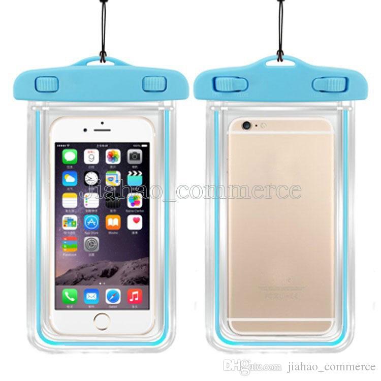 100% Sealed Fluorescenza luminosa trasparente sacchetto impermeabile di caso il telefono astuto, telefono mobile, telefono Android