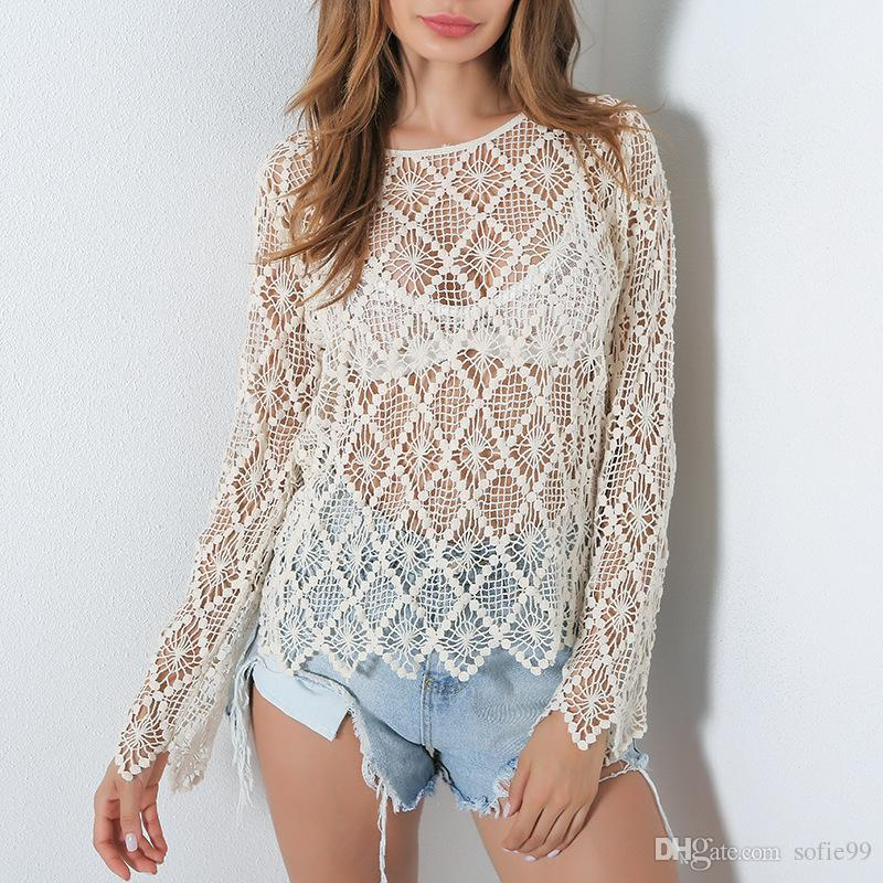 BOHO fashion lace t-shirts for women long sleeve tops autumn slim sexy hot female t-shirt hollow out clothing sale