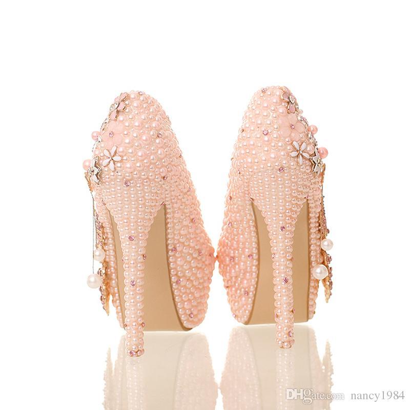 2019 New Design Pink Pearl Bride Shoes Stiletto Heel Platform Phoenix Rhinestone Wedding Shoes Round Toe Lady Party Prom Pumps