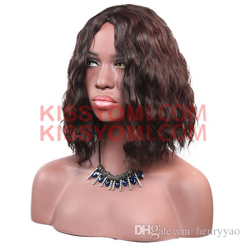 Women Synthetic Wig Fashion Cheap Capless Dark Brown Medium Short Deep Wave Daily Lolita Drag Party Celebrity Wig