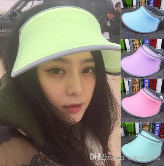 dabad030e24e 2019 NEW Candy Colors Sun Visors Fashion Men Women Wide Brim Hats Sun Hat  Sports Cap Casual Cap Sunvisor Tennis Golf Adjustable Headband Hat Gift  From ...