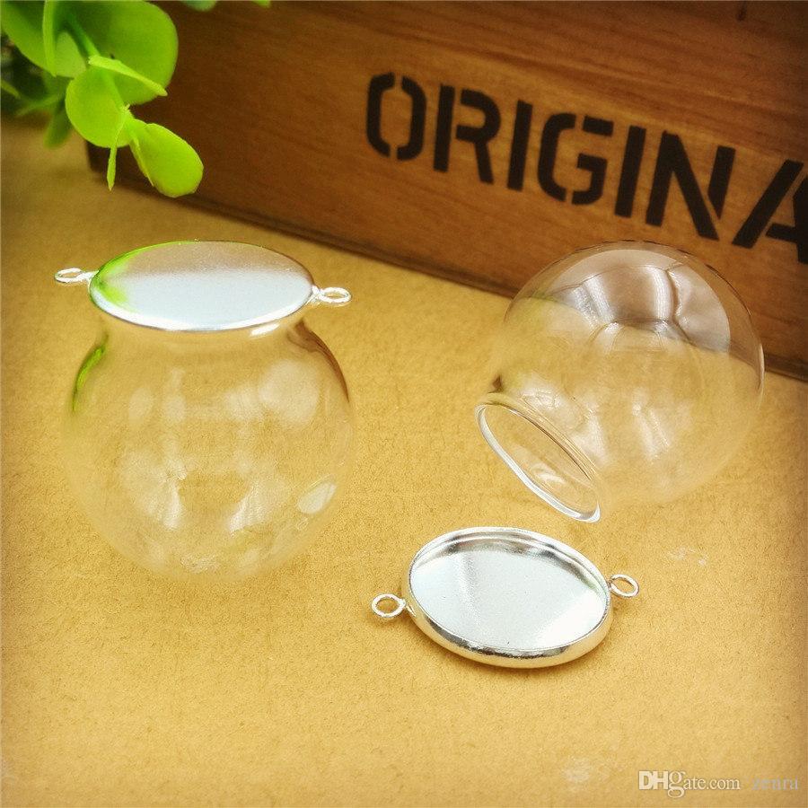 30x20mm boş temizle cam küre şişe kapağı iki askı halkası cam kubbe kapağı cam flakon kolye takılar moda takı bulma