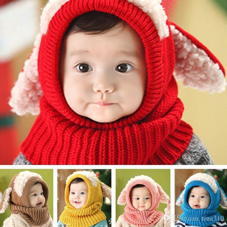 Kış Güzel Bebek Şapka Örme Sıcak Pamuk Bebek Bere Gorros Bebes Tığ Bere Toddler Kap Çocuk Şapkalar Bebek Kap 5 Renkler IC769
