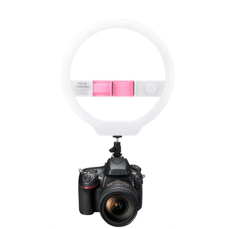 YONGNUO YN128 Fotoğrafçılık LED Halka Işık 3200 K-5500 K Dim Halka Canlı Video Lamba iphone 8/7/7 artı Smartphone Nikon Canon DSLR Kamera