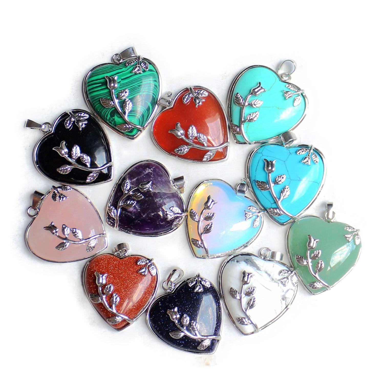 Elegant Rose Quartz Heart Flower Pendant Bead 34mm*35mm Natural Crystal Heart-Shaped Fit Necklace Making