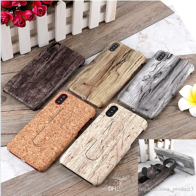 huge discount 9b188 38965 Wood Color Grain Phone Case for iphone X iphone 8 7 6s 6 plus Kickstand  Hard PC Back Cover with Mobile Phone Holder