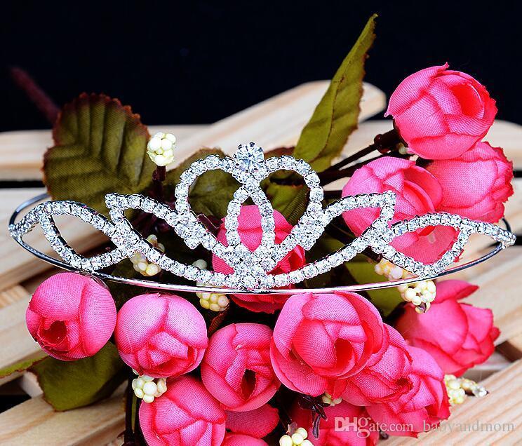 2016 12 stücke Crown tiaras Weihnachtsumzug prinzessin geburtstag hochzeit / party qualität kristall silber tiara krone