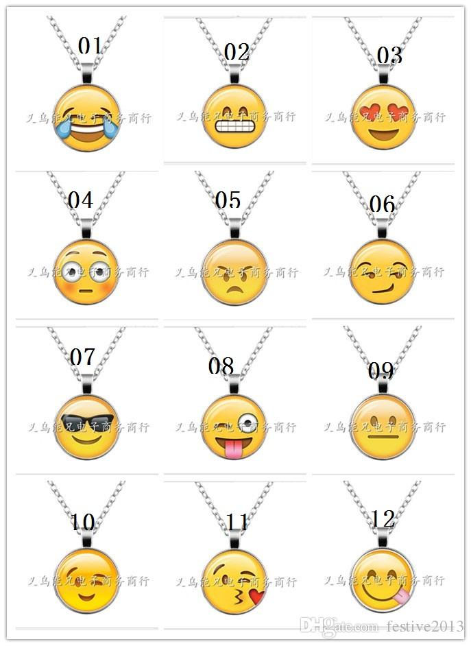 Foreign trade hot style emoji face time gem glass silver necklaces wholesale sweater chain restoring ancient ways