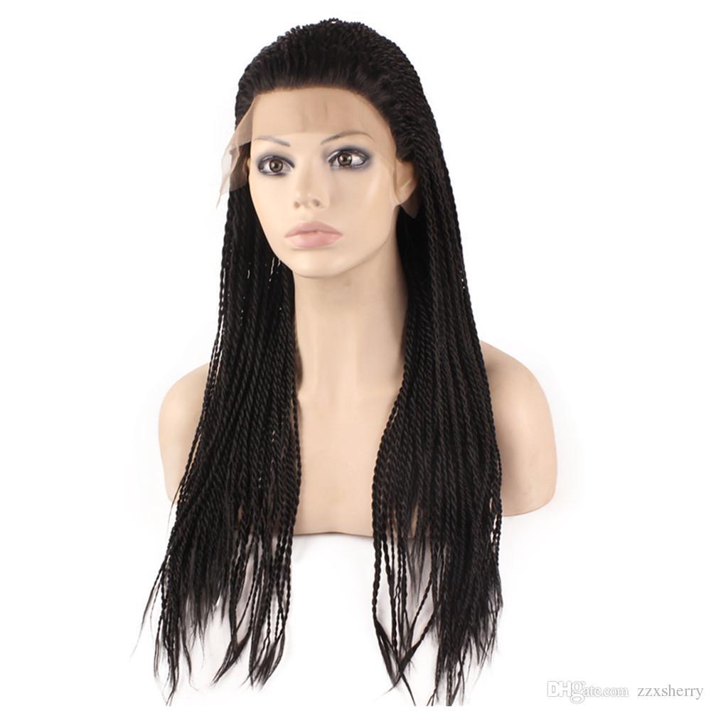 Kanekalon Tressage cheveux perruque longue Micro Tresse synthétique dentelle perruques avant pour les femmes noires, perruque Braid pour l'Afrique américaine