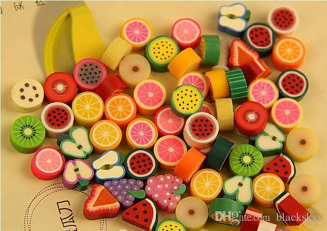 couleurs mélangées en pâte polymère Perles de bricolage Fruit Trancher 10mm résine Perles rondes pour Faire Collier Bracelet