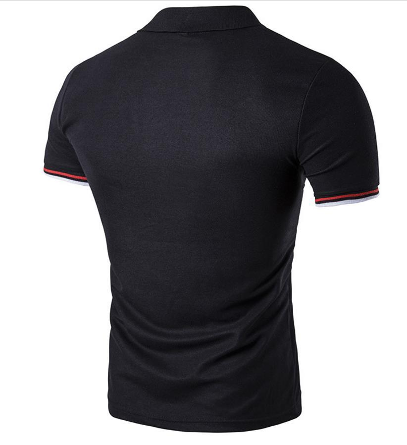 Polo Tee Shirts Uomo 2018 Patch Striped Design Pullover manica corta tinta unita Mens Sport Polo Shirts Ship Ship Cotton Brief Elegante 2017