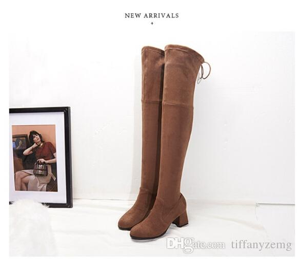2017 Fashion women's boots stretch tall boots sexy women thigh high boots ladies high heels over the knee high long shoes