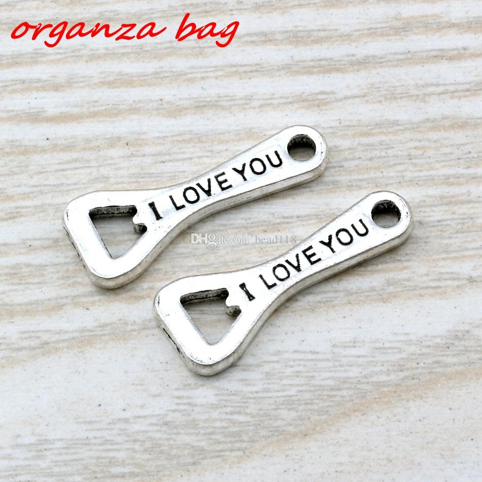 MIC 100pcs Ancient silver zinc alloy Single-sided I Love you Bottle Opener Charms Pendants 10x 27mm DIY Jewelry A-108