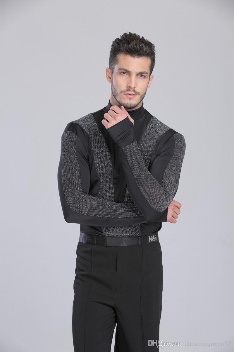 2018 Nouvelle Arrivée Hommes Danse Chemise Col De Tortue À Manches Longues Mens Latin Chemises De Danse De Salle De Bal Vêtements Pour La Danse Wear