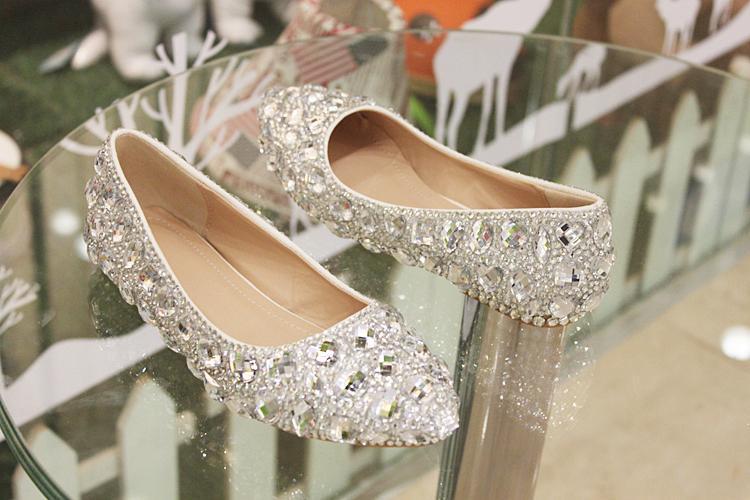 2019 Flat Low Heels Crystal Wedding Shoes Silver Handmade Rhinestone Diamond Elegant Bridal Dress Shoes EUR Size 35-40