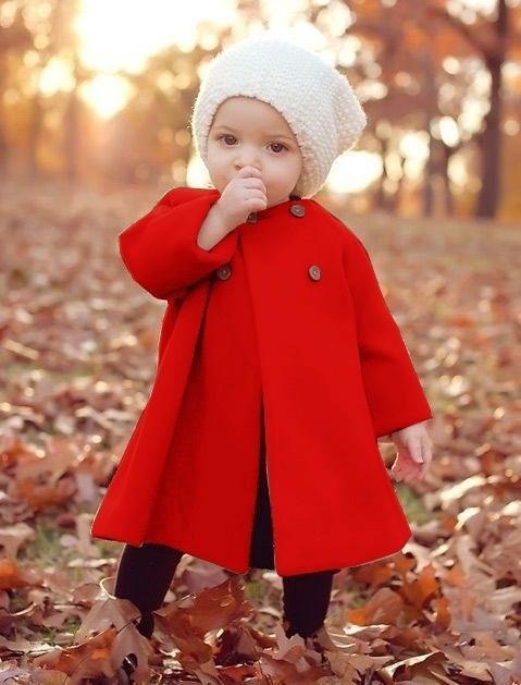 Bebek Kız Moda Sonbahar ve Kış Dış Giyim Pelerin Kış Düğmesi Jaket Sıcak Ceket