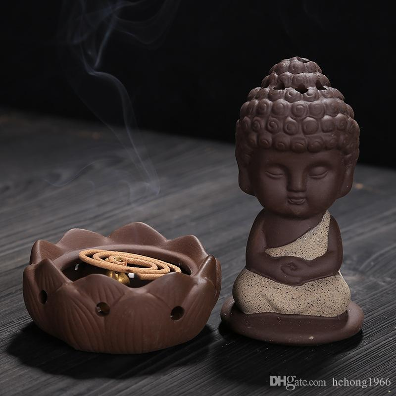 Buddha Incense Burner Creative Ceramic Purple Sand Little Monk Incensory Tea Table Decoration Articles Thurible Craft Gift 13cy C R
