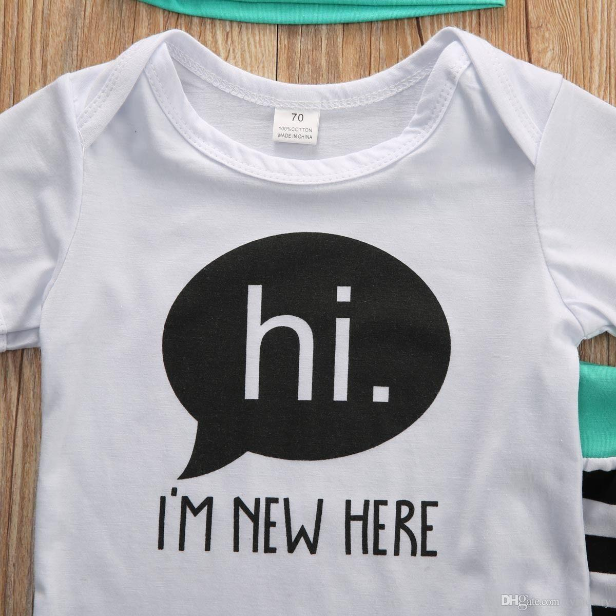 2018 winther autumn baby sets cotton Newborn kids Boys Girls HI ,I'M NEW HERE letters printed Tops Romper+striped Long Pants+Hat Outfit