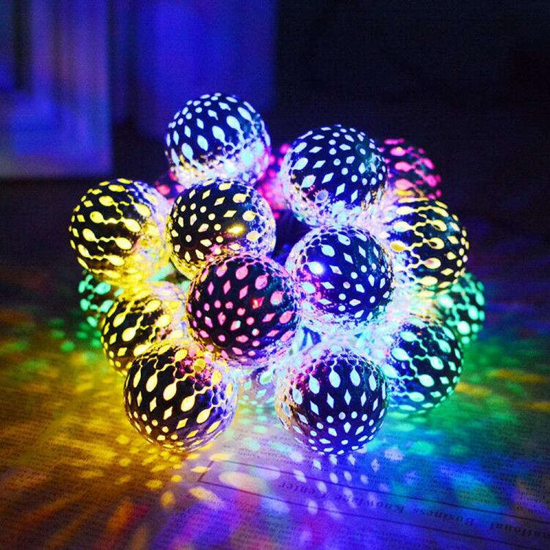 Umlight1688 Super bright 10 BallsMoroccan LED Solar String lights LED Fairy Lights Outdoor Christmas Decoration LED Lamp Solar Powered