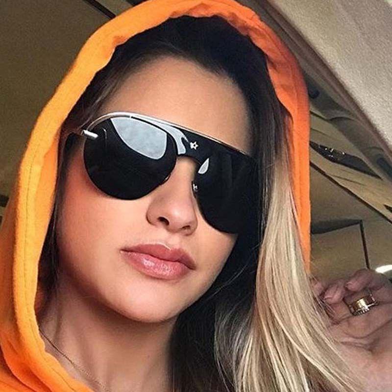 Aviator Sunglasses Women Luxury Brand Designer Retro Rimless Sun ...