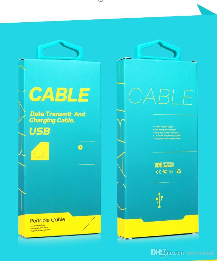 all'ingrosso scatola di carta di imballaggio 1-1.5 m micro usb cavo pacchetto scatole linea dati cavi 130 * 60 * 16mm dhl spedizione gratuita