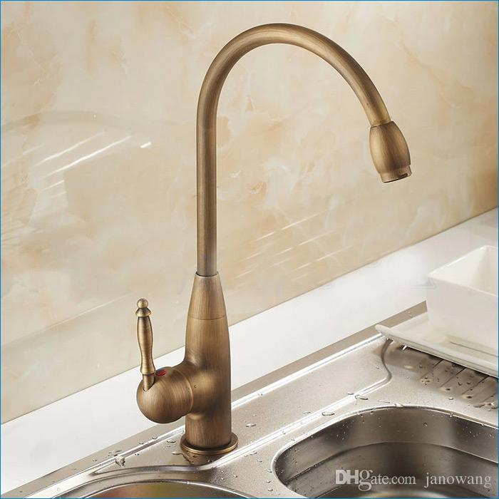 European retro oil rubbed bronze kitchen faucet,Rotatable brass faucet,single hole cold and hot mixer tap,J14809
