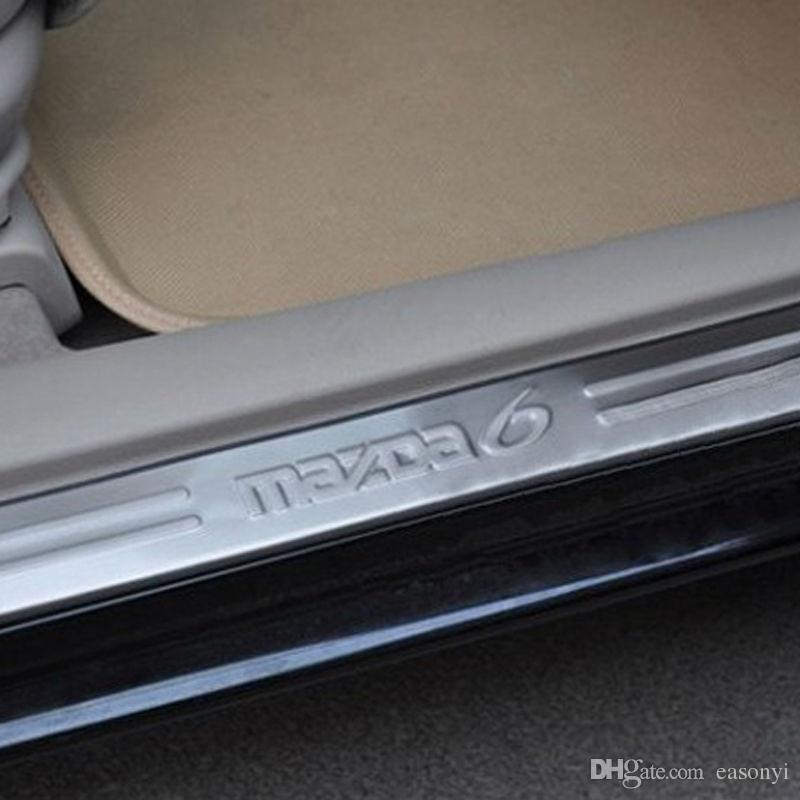 2012 Mazda 6 Acero Inoxidable Puerta Travesaño Lata Placa Umbral Strip Pedal de bienvenida para 2009 2010 2011 2012 mazda 6 Accesorios para automóviles