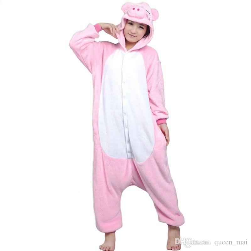 4f2989e7df62 Adults Pink Pig Flannel Pajamas All In One Pyjama Suits Cosplay Costumes  Adult Garment Cute Pig Cartoon Animal Onesies Pajamas Jumpsuit Group  Costume Disco ...