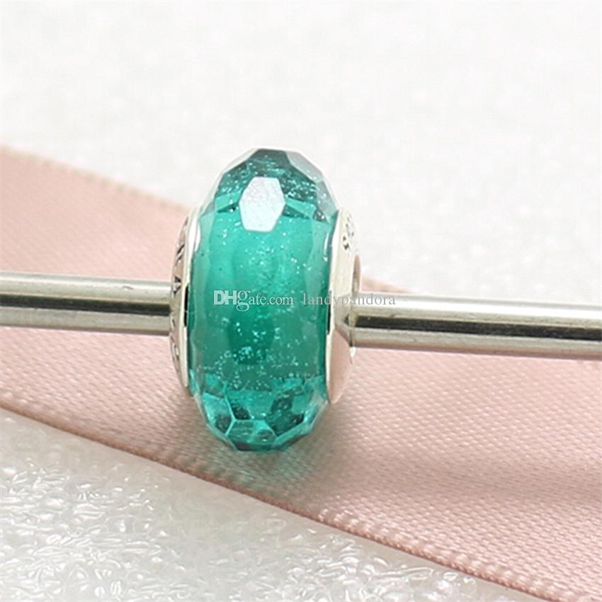 925 filo d'argento sterling vite Teal luccicante sfaccettato vetro di Murano Bead Fit europeo Pandora Style Charm gioielli collana braccialetto