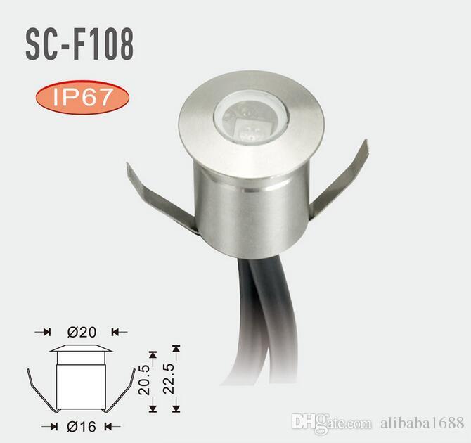20 MM runde LED-Stehleuchte, in den Boden eingelassen. Unterirdische Lampen. Deckenleuchten. Treppenlicht. Stufenlicht. DC12V 6-Licht + LED-Treiber