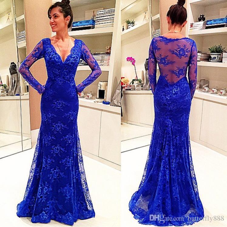 Royal Blue Lace Long Sleeve Evening Dresses 2017 New Arrive V Neck ...