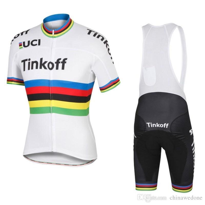 2016 UCI World Tour Champion Team Tinkoff Saxo Bank Pro Breathable Cycling  Jerseys Short Sleeve Quick Dry Bike Racing Ropa Ciclismo GEL Pad Castelli  Bib ... 2d085fd1b