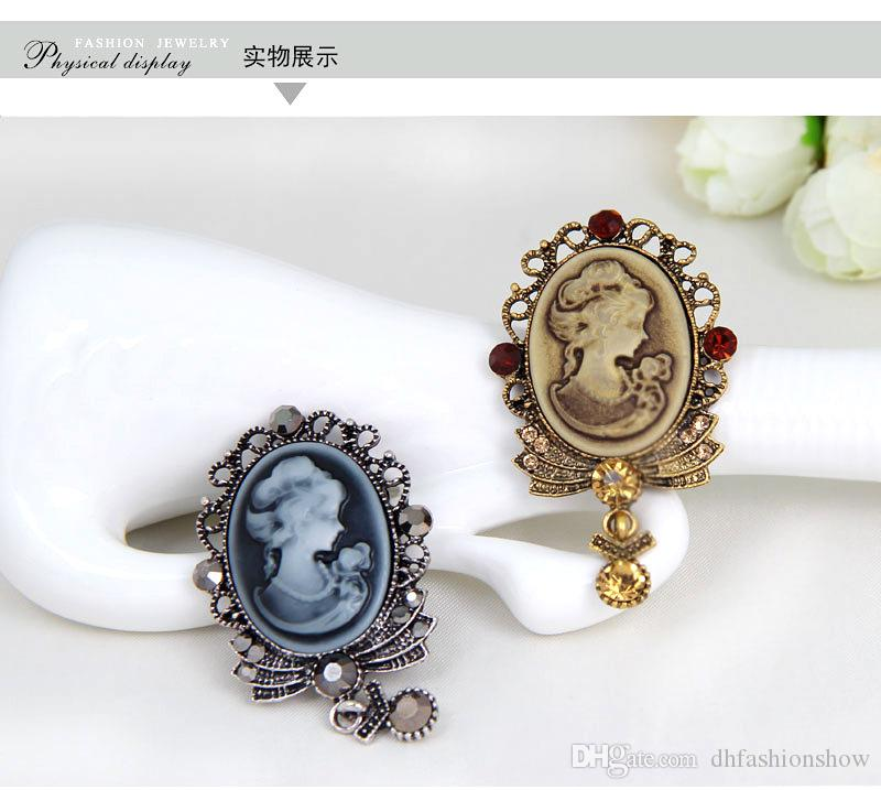 Beauty Queen Vintage Brooches Jewelry Women Accessories Plata antigua / Gold Cameo Broches Fashion Safety Pin Long Rhinestone Broche Navidad