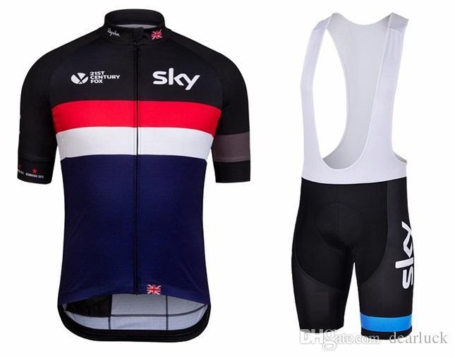 Sky Ciclismo Jersey com Bib Shorts Unisex Mangas Curtas Ternos de Roupas de Bicicleta Quick Dry Frente Zipper Wearable Respirável